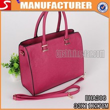 2015 China manufacturer hot sell large capacity pure red women handbag