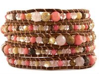 5 Wrap Different Kinds of Stone Bracelet with Graduated Pink Mixed Semi Precious Stones on Natural Brown Colored Leather