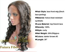 Cheap synthetic lace front with baby hair LONG #3 dark brown wigs natural hairlines middle part