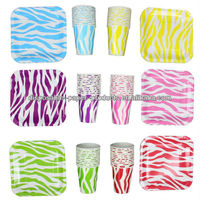 Zebra Print Party Animal Print Zebra Deep Dish Square Dessert Plates and Zebra 9 oz. Paper Cups For Birhday Party, Baby shower