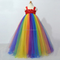 Pretty Newborn Baby Rainbow Fluffy Chiffon Princess Dress Children Summer Flowers Long Maxi Dresses Kids TUTU Dress