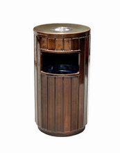 Eco-friendly steel-wood poubelle ashtray garbage bin