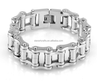 Small Wholesale stainless steel leather biker motorcycle chain bracelet for men