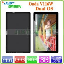 Onda 11.6 inch Intel Z3736F CPU 1.33GHz-2.16GHz Windows8.1+Android 4.4 OS dual os android tablet pc RAM 2GB/ROM 64GB