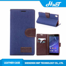 Wallet style PU leather mobile phone jeans case For Sony Xperia Z3