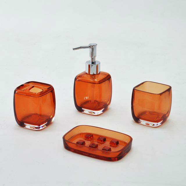 Translucent Orange Acrylic Square Bathroom Accessories Buy Orange Bathroom Accessories Square
