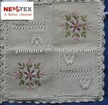 fashion ribbon embroidery hand knit crochet cushion