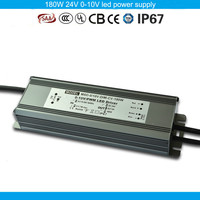 Factory direct PF0.98 EFF88% waterproof pwm led driver 180w 0-10V dimmer led driver 24v