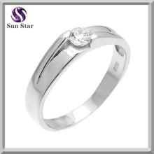 925 Sterling Silver Elegant Design Zirconia Mens Wedding Rings