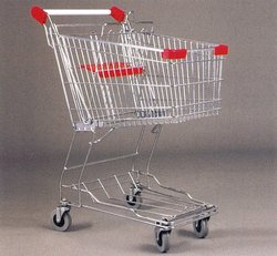 Asian Style Wal-Mart Unfolding Metal Shopping Trolleys With Seat