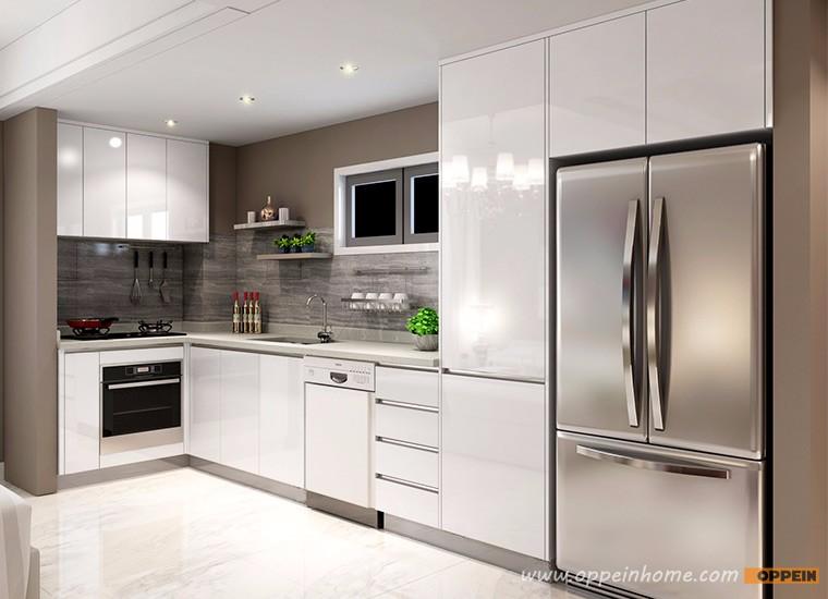 Wit hoogglans lak l vorm modulaire kleine keuken unit kast ...