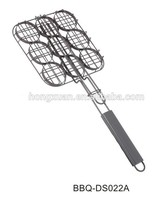 LFGB high quality BBQ basket for burgers non stick grid net with wood handle