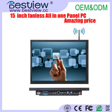 Hot selling Fanless Quad core 15 inch Industrial All In One Touch Panel PC