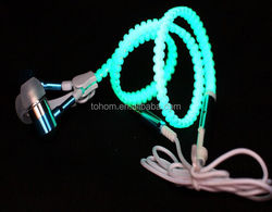 High Quality Fashionable led Headset Zipper Light Earphone With Mic for IPhone Samsung HTC