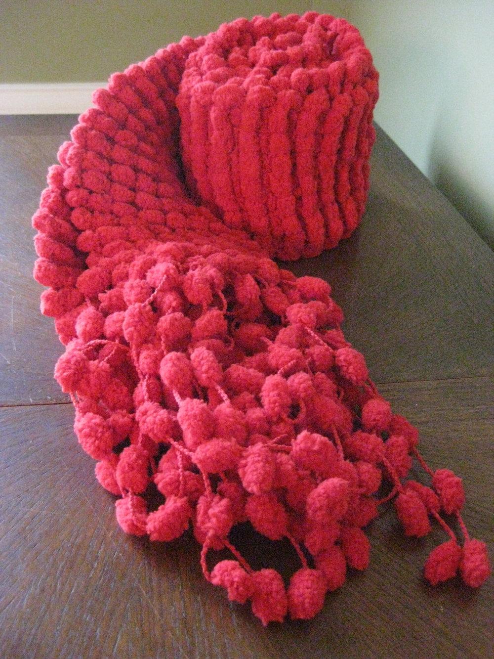 Вязание помпонной пряжей 9