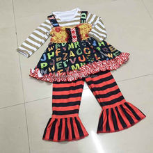 Fairest Black Cotton Aqua Dot Black Chevron Ruffle Pant Set my favorite baby girl thanksgiving fall boutique clothing
