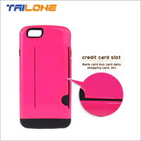 luxury rubber card slot wallet mobile case for iphone 6 cover custom