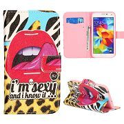 Sexy Red Lip Magnetic Flip Stand Wallet Case For Samsung Galaxy S5, For Samsung Galaxy S5 Wallet Case With Card Slots