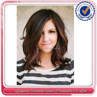 150% density 14 inch mix brown wigs for bald women layered wig with bangs