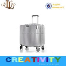luxury silver color promotional lugagge 2015 TSA lock aluminium sash abs+pc material trolley luggage suitcase/luggage cabin