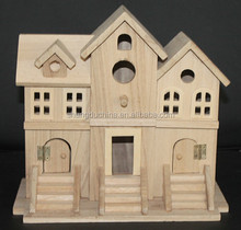 Antique natural art crafts fairy wooden houses model wholesale