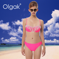 Olgak 2015 Fashion Sexy Women Bikini Swimwear Beads Hot Swimsuit