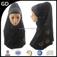 GDHH0932 Muslim unique design with flowers sequins women pakistani scarf hijab