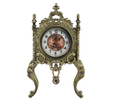Unique Bronze with Handle Antique Table Metal Clock