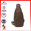 Men's Canvas Sling Messenger Bag Leather Travel Hiking Shoulder Chest Bag