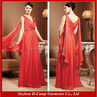 ME-054 Sleeveless v neck coral mother of the bride dress for fat young mother of the bride beach wedding dress