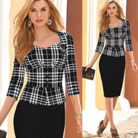 Newest african style black and white checks peplum dress with three quaters sleeve A846