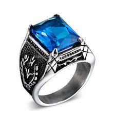 Men's Fashion Jewelry Large Stainless Steel Square Blue Cz Ring Cubic Zircon Inlaid Silver White