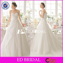 Ball Gown Pleated Organza Wedding Dresses 2014 With Hand Mand Flowers Sash