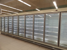 summer feel supermarket and grocery soft drink and beer sliding door showcase freezer
