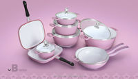 White ceramic coating cookware sets