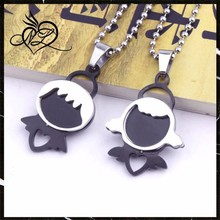 Stainless Steel Jewelry Set Boy and Girl Fall in Love Couple Pendant
