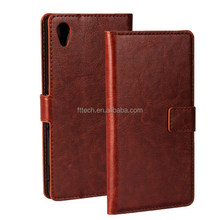 OEM blank leather phone cases/Sublimation Leather Flip Cover for sony xperia m4 auqa