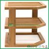 Bamboo 3-Tier corner shelf dish/bowl rack