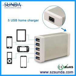 China market of electronic 5 USB port 7A phone and tablet charger adapter home charger