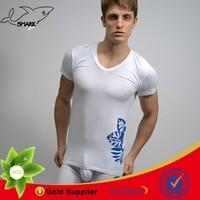 Shark Fashion male shirt bulk production from China OEM t shirt factory