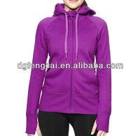 100% polyester custom purple zip up women fleece hoodie