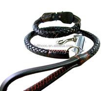 Pet collar & leashes led dog woven webbing adjustable strap