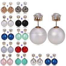2015 Hottest Sale Korean Style CZ Zircon Studs Big Pearl Earrings Peekaboo Earrings Crystal Stud Big Pearl Two Sided Earring