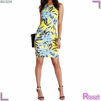 Print Floral Lady Fashion Sexy Backless Dress Sleeveless Bodycon Vestidos Casuales