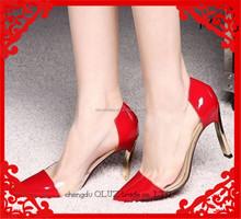 OP37 bridal shoes bridal wedding shoes clear side transparent dress shoes