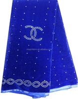 2015 wholesale african velvet george lace fabric for party royal blue color with many stones