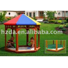 40095 Garden games of wooden sandbox/sand pit with roof