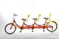 three pedal two wheel leisure sightseeing bicycle three seat tandem bike