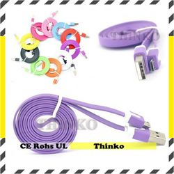 2014 Thinko flat colored noodle new style factory cable micro usb