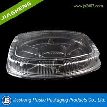 Big round disposable food tray with 6 compartment